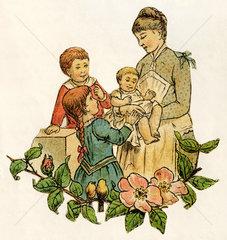 Mutter mit drei Kindern  Baby  Illustration 1881