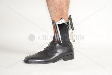 Notizblock und sonstige Bueromaterialen in der Socke