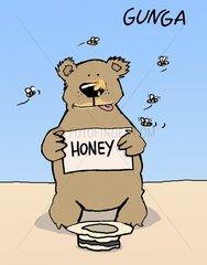 Baer bettelt um Honig