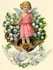 Engelchen mit Maigloeckchen und weissen Tauben  Poesiebild  1929