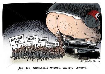 Protest gegen Muslime und Fluechtlingsheime Fremdenhass