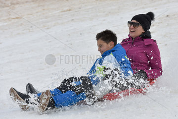 CROATIA-LOVINAC-SNOW-SLEDGING