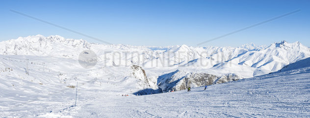Skiing in the Alps by a Sunny Day  France  Europe