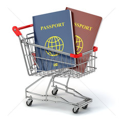 Passports in shopping cart. Paperwork to emigrate.