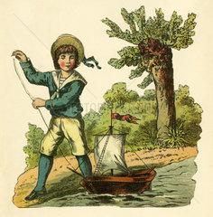 Junge spielt mit kleinem Segelboot  Illustration  1881