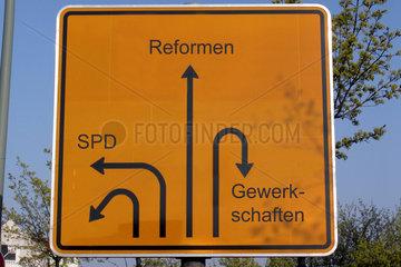 Reformen  SPD  Gewerkschaften  Strassenschild