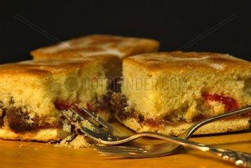 selbst gebackener Fruchtkuchen mit Rosinen