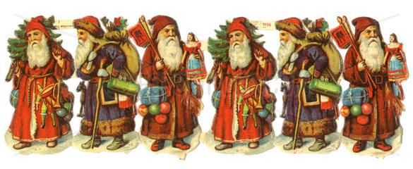 6 uralte Weihnachtsmaenner  Oblaten  1900