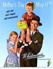 Familie gratuliert mit Schokolade zum Muttertag  USA 1947