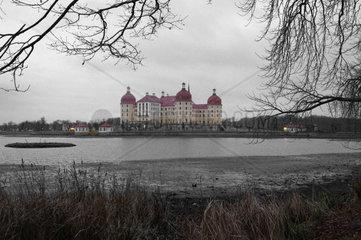 Schloss Moritzburg bei Dresden in der Abenddaemmerung.