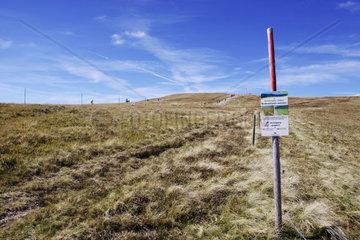Schild zur Aufforderung nich die Wege zu verlassen am Feldberg im Schwarzwald