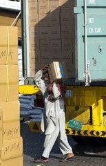 Asiatischer Gastarbeiter beim Verladen einer Ladung Kisten aus China im Hafen von Dubai  Vereinigte Arabische Emirate