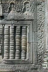 Filigrane Ornamente und Baluster in Sandstein  Wanddekoration im Preah Khan Tempel  Angkor  Siem Reap  Kambodscha