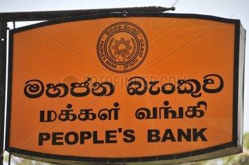 Werbeschild  PeopleÂ's Bank  Volksbank  Galle  Sri Lanka  Suedasien  Asien
