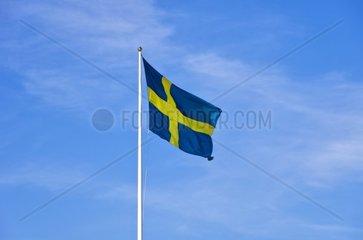 Schwedenflagge weht am Mast