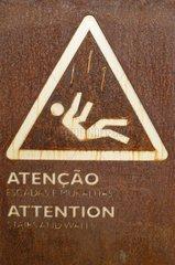 Lissabon Portugal Vorsicht Rutschgefahr