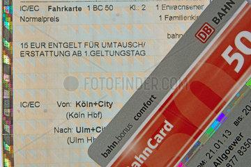 Ticket der Deutschen Bahn aus dem Fahrkartenautomaten  Bahncard 50 Comfort  bahn.bonus comfort ? der Status fuer Vielfahrer