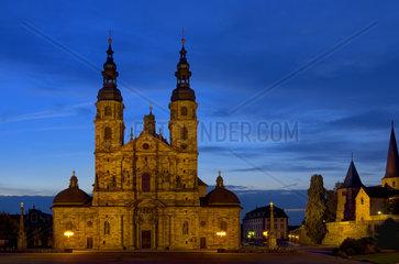 Fulda Cathedral  one of the landmarks of Fulda  Germany  by sundown