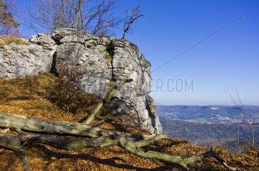 Hangender Stein  Felsen mit Totholz und Landschaft mit Blick ueber den Trauf der Schwaebischen Alb bei Albstadt  Deutschland