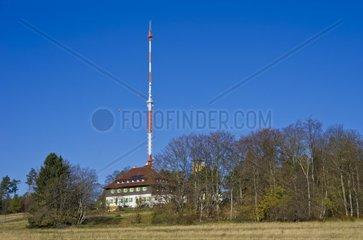 Das Naegelehaus  Sendemast und Aussichtsturm auf dem Raichberg bei Albstadt  Schwaebische Alb  Deutschland
