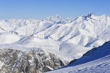 Mont Blanc and other snowy peaks  France  Europe