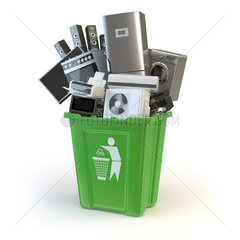 Old kitchen appliances in the rubbish bin isolated on white. Time to change home technics. Recycling concept.