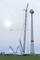 Baustelle der Errichtung einer Windkraftanlage