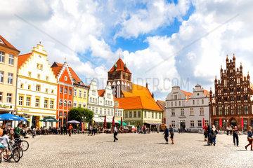 Der Marktplatz in der Hansestadt Greifswald