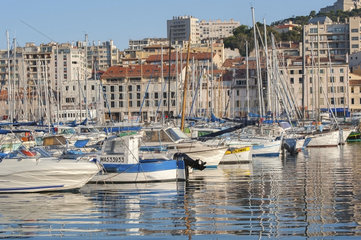 France  Marseille - August 6  2013: View of the boats in the port of Marseilles.