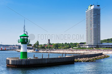 port entrance with beach in Travemuende