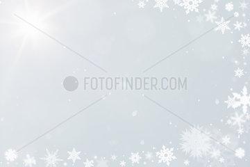 Schneekristalle als Hintergrund zu Weihnachten