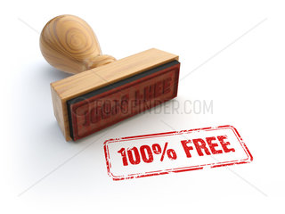 Stamp 100% free isolated on white.