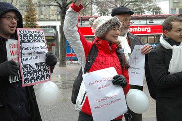 Kundgebung gegen Russlandwahlen in Hamburg