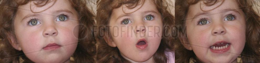 kleines Maedchen sequenz von Gesichtsausdruecken
