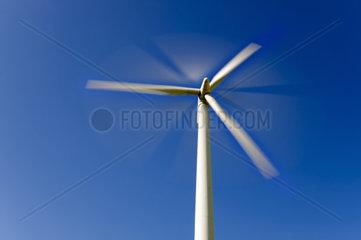 sich drehendes Windrad vor blauem Himmel