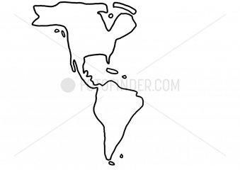 Nordamerika Suedamerika Amerika amerikanischer Kontinent Karte Landkarte Gre