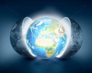 Neue Welt Globus Alt Erde