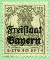 Briefmarke Deutsches Reich mit Aufdruck Freistaat Bayern  1919