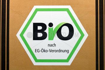 Berlin  Deutschland  das deutsche staatliche Bio-Siegel auf der Gruenen Woche