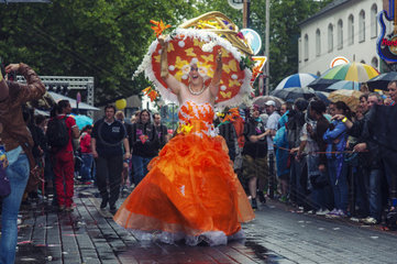 festlich geschmueckter Teilnehmer am CSD 2012 in Koeln