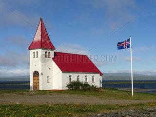 Kleine Kirche Prestbakki am Hr__tafj__r__ur in Island;