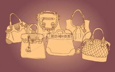 Illustration sepia bag