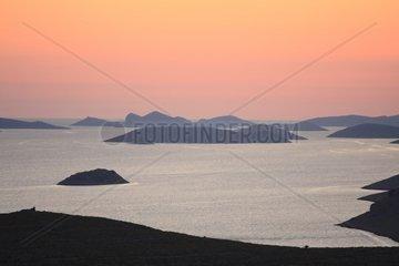 Kroatien  Kornaten  Sonnenuntergang im Archipel