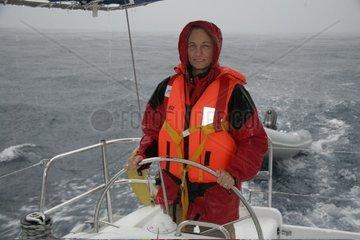 Kroatien  Sued-Dalmatien  Elaphiten-Archipel  Segelboot im Unwetter