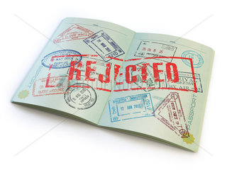 Passport with rejected visa stamp isolated on white.
