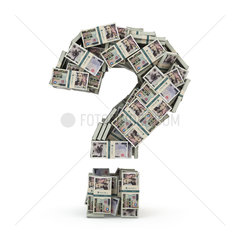 Question sign from packs of yen isolated on white. Where to invest money concept.
