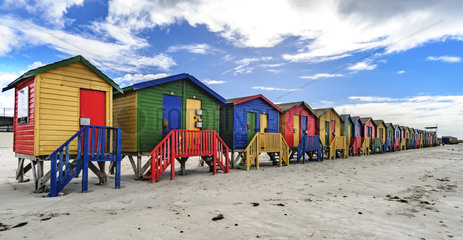Colorful Victorian bathing boxes  Muizenberg Beach  Cape Town  South Africa