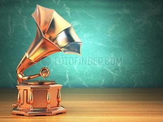 Gold vintage gramophone on green background.