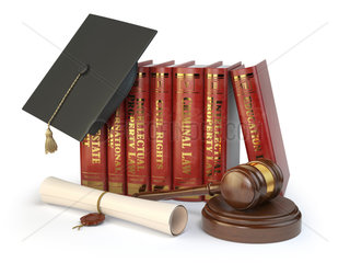 Justice  learning different fields of law concept. Books  graduation hat  judge gavel and diploma isolated on white