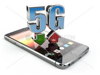 Mobile phone with 5G network standard communication. High speed mobile internet technology. Smartphone with text 5G isolated on white.